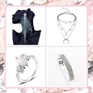 🌸 4PC SET EARRINGS NECKLACE BRACELET RING BOHO